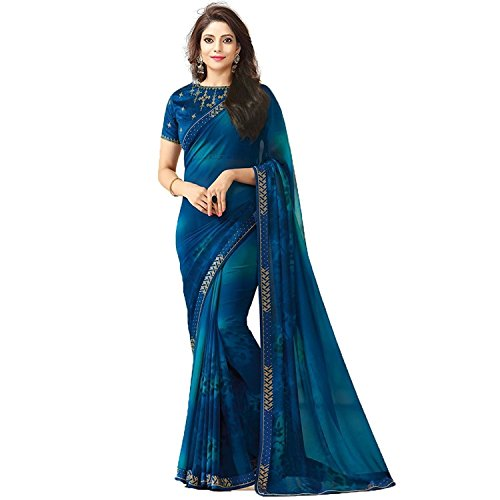 Shadow Export Women's Georgette Saree With Unstiched Blouse Piece(Multi_Color_Bhagalpuri) (Red-1502)