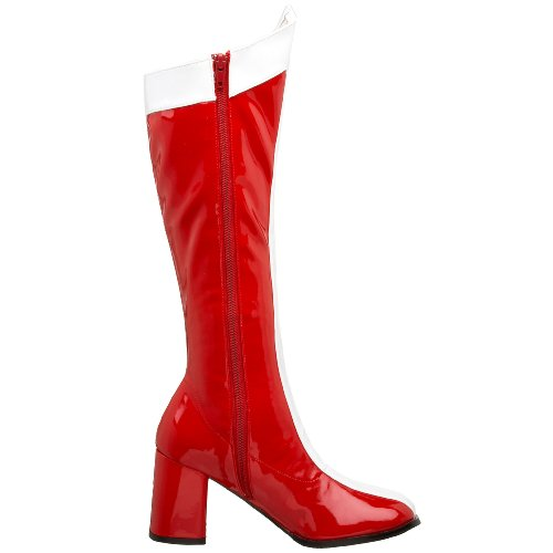 Pleaser Gogo 305 Damen Kurzschaft Stiefel Rot (Red Wht Str Pat)