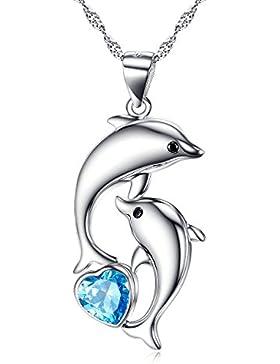 Delfin Anhänger Halskette 925 Sterling Silber Blau Herz Kristall Delphin Schmuck