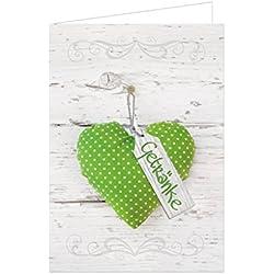 10 Stück hell-grün weiß gepunktetes Herz Getränke-Karten Barkarten Holz-Optik leere beschreibbare Klappkarten blanko A4 Format JEDER Drucker und A5 stehend geklappt Tischdeko Gastronomie Hochzeit