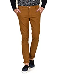Ruace Men's Dk-camel Slim Fit Cotton Trouser