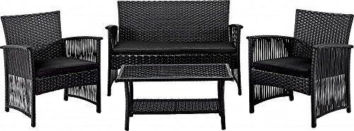 Sitzgarnitur - Rattanset - Lounge Set 4 tlg aus Polyrattan