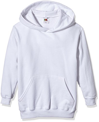 Fruit of the Loom Jungen Sweatshirt Pull-Over Classic Hooded Sweat, Weiß (White), 9-10 (Herstellergröße: 10-11 Jahre)
