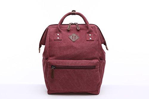 ShengTS Damen Herren Mädchen Jungen Retro Canvas Schule Rucksack 15,6 Laptop Schultasche Handtasche Wanderrucksack Reisetasche 12 Zoll Laptoprucksack Daypack mit Großer Kapazität (grau) rot