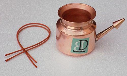 blomideal (TM) Lebensmittelqualität Kupfer Jala Neti Pot (500ml) mit 570200Sutra (set-2) | hygienischen und aus reinem Kupfer