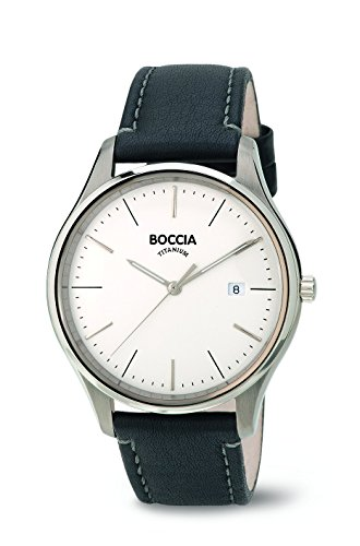 Boccia Men's Quartz Watch with White Dial Analogue Display and Black Leather Strap B3587-01