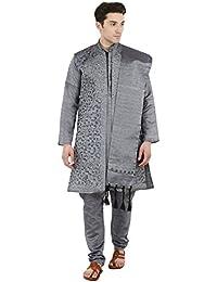 SKAVIJ Männer Kunst und Weise 4-teilig Kurta-Pyjama Sherwani Stola indische Kleidung schwarz