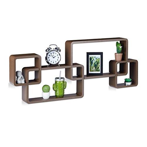Relaxdays 10021901_93 mensole da muro cube, 4 cubi da parete, design moderno, legno mdf, hxlxp: 42x104x10 cm, marrone