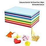 Farbige Kartonpapier, A4, 180 g/m², zum Basteln und Dekorieren, zum Skizzieren und Schneiden von Papier, 20 verschiedene Farben