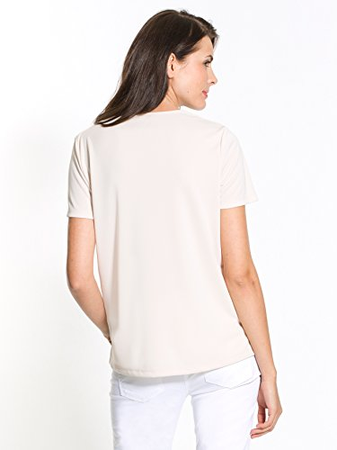Charmance - Tee-shirt uni encolure à bride Beige