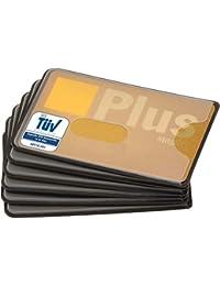 valonic NFC RFID Kreditkartenhülle TÜV geprüft 6 Stück, transparent und trotzdem abgeschirmt, Loch Ausschnitt, Stabiler Kunststoff, Plastik, Blocker, EC Karte, Schutzhülle, Kreditkarte