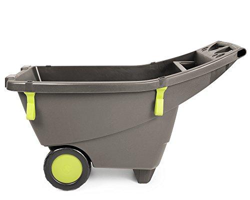floristikvergleich.de Ondis24 praktische extrem leichte stabile Schubkarre Gartenschubkarre 140 Liter in beige-braun aus Kunststoff sicherer Stand große Räder