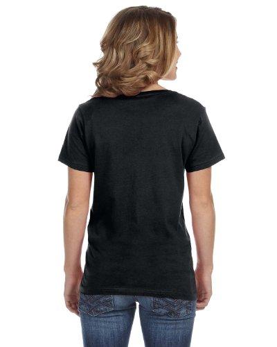 Anvil Damen T-Shirt mit V-Ausschnitt Schwarz