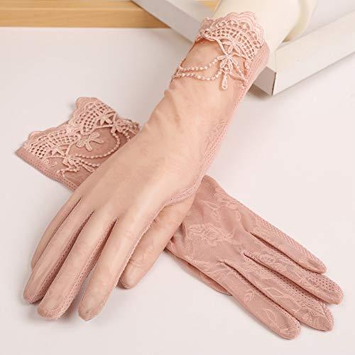 Unbekannt Sommer-Sonnenschutzhandschuhe Langes Fahren Anti-UV Spitze dünne Kurzarm-Touch Screen Handschuhe,Pink - Baumwolle Kurzarm-handschuhe
