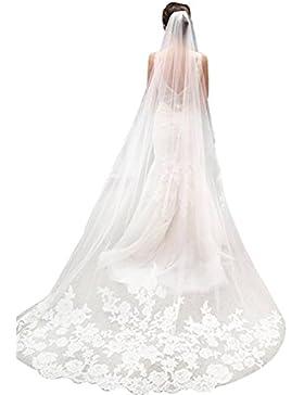 Bridal _ Mall Mujer Novia velo boda velo suelo largo applikation