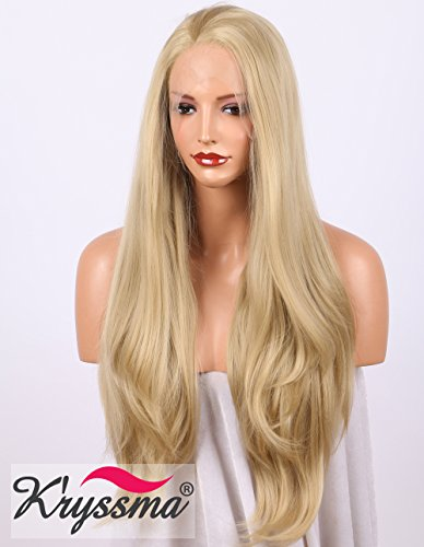K'ryssma Realistic Wigs for Women Natural Wavy Blonde Synthetic Hair Best Lace Front Wig Half Hand Tied Heat Safe 22 inches (Halloween Perücken Für Beste)
