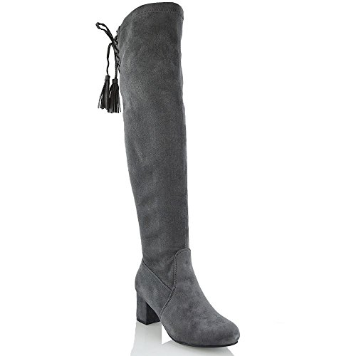 ESSEX GLAM Damen Grau Wildlederimitat Schenkelhoch StretchLangschaft Stretch Blockabsatz Stiefel EU...