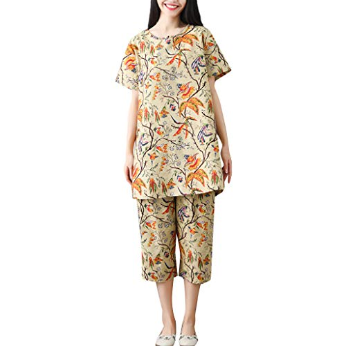 Baumwoll Point-kragen Bluse (Markthym Damen Stillpyjama Kurzarme Zweiteilige Umstandspyjama Frauen Baumwolle Leinen Loose Point Kurzarm Shirt Wide Leg Casual Zweiteiler Frau losen BaumwollTShirtDruck Zweiteilige Hose)