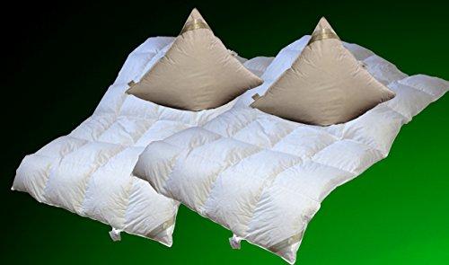 Betten Hofmann 2 Stück Set leichte Kassetten Daunendecke 4x6, 135x200 cm + Kissen 80x80cm Doppelpack