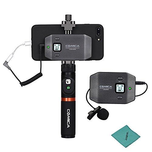 COMICA CVM-WS50 (A) 6 Kanal UHF Wireless Smartphone Lavalier Mikrofon System 197ft Reichweite mit Handy Halter + Grip + Fernbedienung + Tragetasche für iPhone Samsung Huawei Vlogging Filmen -