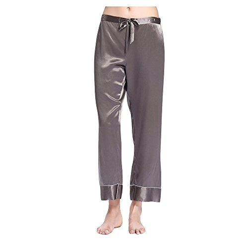 Lilysilk Chic Seide Pyjama Schlafanzug Hose Seidenhosen Nachtwäsche von 22 Momme Dunkel Grau S (Schlaf-hose Nachtwäsche Seide)