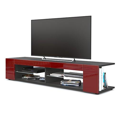 meuble tv armoire basse movie corps en noir mat faades en bordeaux haute brillance - Table Basse Rouge Et Noir