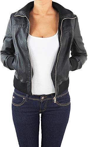 Damen Lederjacke Kunstlederjacke Leder Jacke Damenjacke Jacket Bikerjacke Blouson in vielen Farben S - 4XL Schwarz S