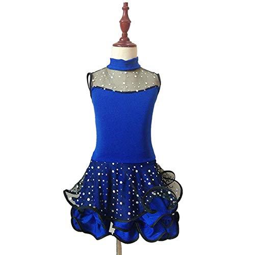 Kinder Latin Dance Kleidung Back to School Kostüm Performance Dancing Dress Ärmelloser Rock für Mädchen (Rock Star Kostüm Bilder)