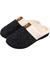 614490913ab Winter House Slippers Womens Mens Memory Foam Slippers Comfort Plush Fleece  Lined Slipper Anti-Slip for Indoor…