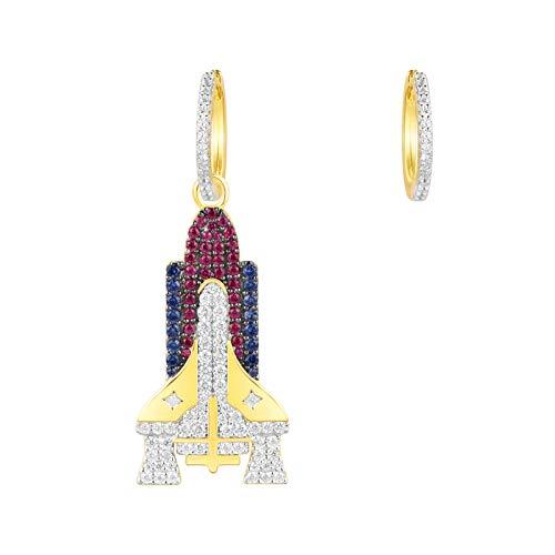 SHATANQ Mode Ohrringe Weibliches Temperament Einfache Voller Diamanten Raumschiff Asymmetrische Ohrringe Ohrringe Mode/rot/Einheitlicher Code