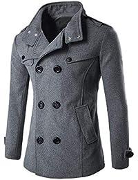 HX fashion Cappotto Doppiopetto da Uomo Lungo Bavero Collo con Trench  Taglie Comode Cappotto Invernale da Uomo Cappotto da Uomo… 37de4811e40