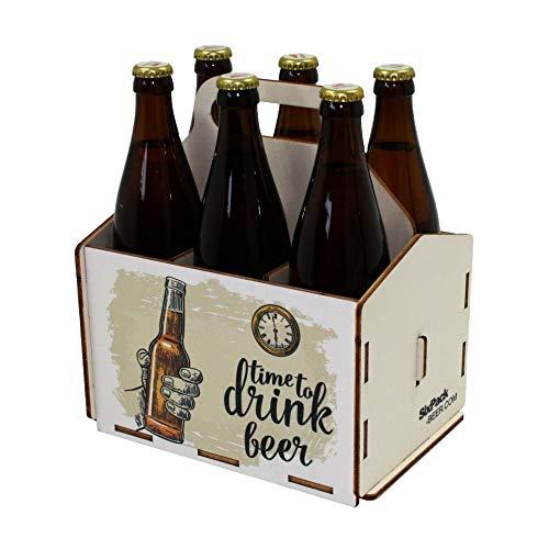 41dmgoxF sL - Bierträger aus Holz - Sixpack - 6er Träger - Sechserträger - Geschenk Männer, Bier, Grillzubehör, Geburtstagsgeschenk für Männer, Grillparty, Bier-Geschenk