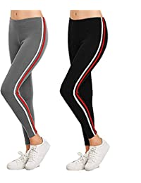Trusha Dresses Jeggings for women stretchable combo Lycra Gym Wear Pant Side strip 28 to 34 (Black-Gray) Women's Jogger Gym Yoga Sports and Fitness Casual Side Striped Ankle Length Leggings with Stretchable Thick Spandex Rib Cotton Fabricating Pack of 2