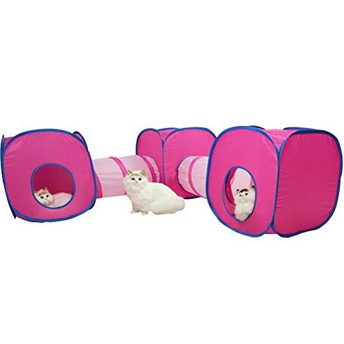 Da Jia Inc Katzen Spielzelt und Tunnel zusammenklappbar Spieltunnel und Würfel für Kaninchen Katzen (3 Cube + 2 Tunnel)
