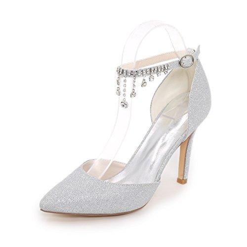 YY-Rui Damen Pumps High Heel Hochzeit Party Abend Tanzschuhe Brautschuhe Silber 40