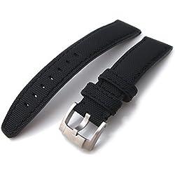 21mm MiLTAT Kevlar Black Watch Strap, Black Stitches, IWC Type Screw-in Buckle