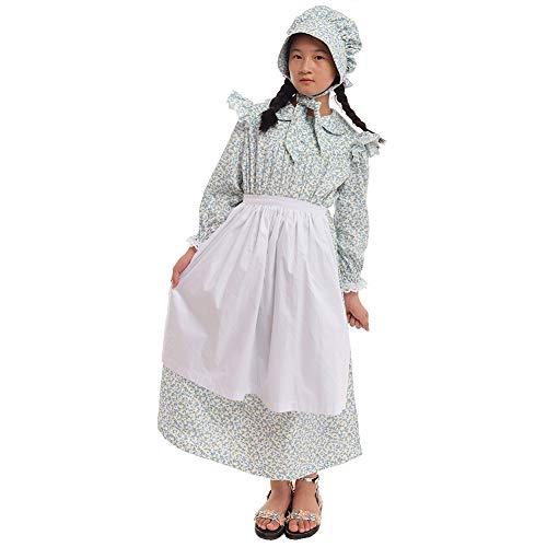ktorianisch Kostüm Prairie Kleid 100% Baumwolle (4 Farben Option) (Light Blue, US-12) ()