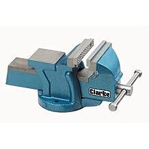 Clarke International - Morsa da banco per la lavorazione dei metalli, 10 cm, 100 mm, colore: Blu