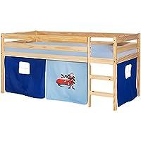Preisvergleich für IDIMEX Hochbett Erik Kinderbett Spielbett Etagenbett Stockbett Holzbett, Vorhang mit Motiv Auto blau, Kiefer massiv Natur lackiert, 90 x 200 cm