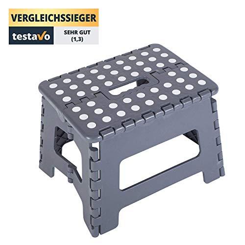 Stylished® | sgabello-scaletta 31 x 22 x 22 | realizzato con materiali molto resistenti | ottima tenuta fino a 150 kg | grigio con superficie di appoggio bianca anti-scivolo - perfetto per casa, bambi