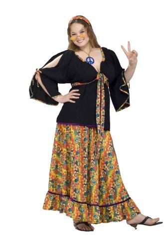 Hippie Frau Kostüm große Größe - (Kostüme Frau Hippie)