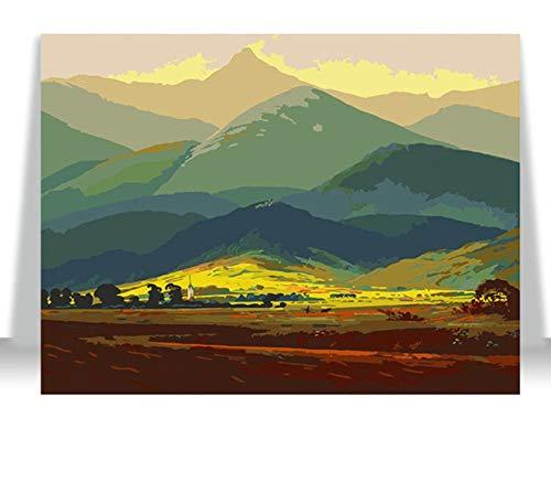 WYTCY Ohne gerahmte Malerei nach Zahlen Kunstfarbe nach Zahlen Digitale Malerei DIY handgefertigte dekorative Landschaft Erwachsene handgemalte Farbgebung 40x50cm