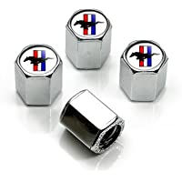 Ford Mustang Tri-bar Logo Chrome Tire Stem Valve Caps, Official Licensed by Mustang