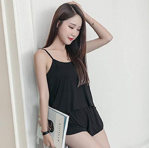 Fennd Sommerunterhemd Kleine frische Unterhemd Shorts Set Mädchen Basis Bottom Top Short Home Wear Größe: L, XL, XXL, Black_XXL -