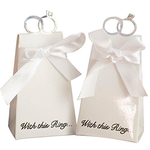 20pz bomboniere scatole portaconfetti confettata matrimonio con anello diamante bianco