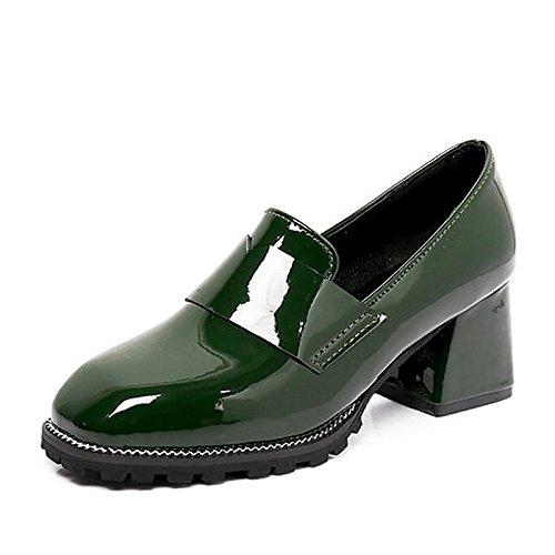 DIMAOL Scarpe Donna PU Molla Tacchi Comfort Scarpe da Passeggio Chunky Tallone Punta Tonda per Casual Verde Scuro Nero Verde scuro
