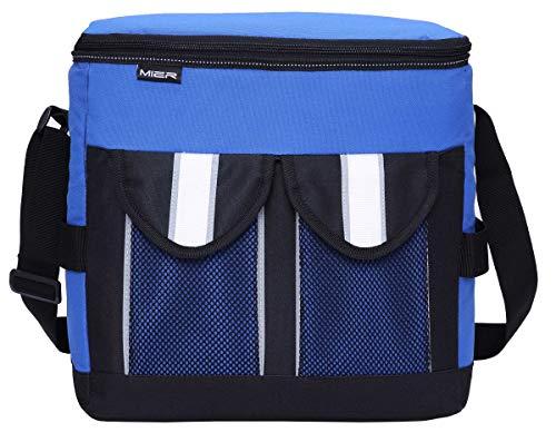 Mier grande borsa isolata del pranzo bagagli freddi pieghevoli per adulti, uomini e donne, 30can, bianco blu
