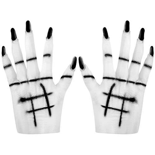 SATINIOR Halloween Ghost Handschuhe Realistische Hexe Hände Gummi Kostüm Hände Handschuhe für Halloween Zubehör (Ghost Halloween Kostüm)