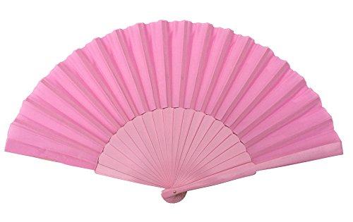 La Señorita Abanico Flamenco madera y tela XL colores diferentes vestido Español (rosa claro)
