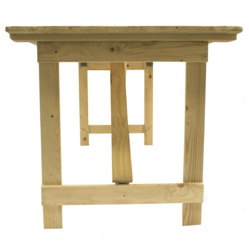 BE Furniture 6' x 2'6'' Wooden Trestle Table with wooden folding legs, Ideal for trade shows, events, car boot sales and around the home